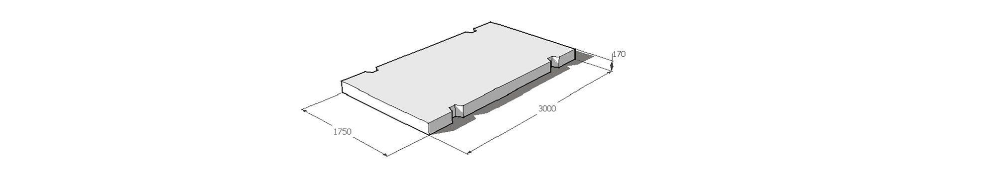 Дорожная плита железобетонная. Габариты 3,0м х 1,75 м